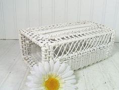 Vintage White Wicker Open Box  Retro BathRoom by DivineOrders, $12.00