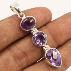 Natural AMETHYST Gemstone 925 Sterling Silver Jewelry Gorgeous Pendant Exporter #Unbranded #Pendant