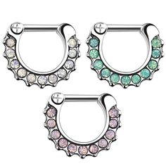 16g Opalescent CZ Septum Clickers – Tulsa Body Jewelry