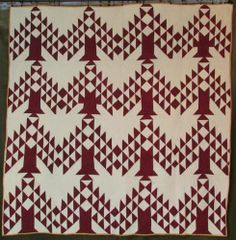 Great 19th C Antique Cranberry Tree of Life or Pine Tree Quilt | eBay