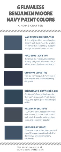 It's true! Navy is the new black! Benjamin Moore has some of the best Navy paint colors available. Listed below are 6 of my personal favorite Navy's with example rooms. Make sure to follow us on Pinterest and Facebook! Hudson Bay Photo by Hyrum McKay Bates Design, Inc. Photo by Cathy Wall Designs LLC Hale Navy Photo by City Homes, LLC Photo by Sealy Design Inc. Photo by Damian Farrell Design Group [caption id=attachment_1697 align=aligncenter width=591] ...