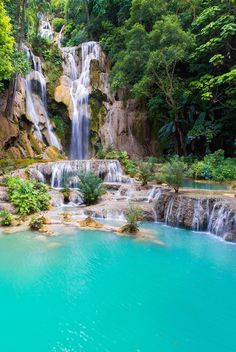 Kuang Si Falls is a three tier waterfall, south of Luang Prabang in Laos. Luang Prabang, Nature Water, Enchanted Garden, Most Visited, Laos, Waterfall, Beautiful Pictures, Scenery, Places To Visit