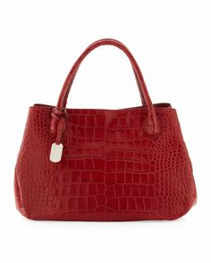 "New Giselle Large Tote, Cherry by Furla,  •Crocodile-embossed leather. •Tote handles; 5"" drop. •Open top with center snap button. •Snap-button center strap gathers sides. •Inside, one zip and one open pockets. •Logo jacquard lining. •Metal feet protect bottom of bag. •8""H x 13""W x 5""D; weighs 1lb. 8oz. •Imported."
