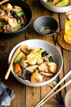 Chukadon is a Chinese-style rice bowl dish with stir-fried seafood, meat, and vegetables in a thickened soy-infused sauce over steamed rice. #chukadon #ricebowl #japanesefood | Easy Japanese Recipes at JustOneCookbook.com Easy Japanese Recipes, Asian Recipes, Japanese Food, Asian Foods, Chinese Recipes, Easy Recipes, Easy Healthy Dinners, Healthy Dinner Recipes, Food Dishes