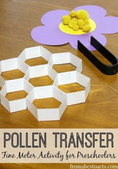 The perfect spring activity for preschoolers! Practice those fine motor skills while learning about bees and how they pollinate flowers at the same time! preschool Pollen Transfer: Fine Motor Activity for Preschoolers - From ABCs to ACTs Preschool At Home, Preschool Themes, Preschool Science, Preschool Lessons, Preschool Learning, Preschool Crafts, Spring Preschool Theme, Preschool Printables, Daycare Crafts