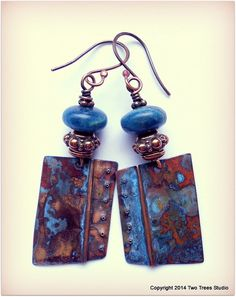 Beautiful kyanite and copper beads hook up with METAL!  By Two Trees Studio, $42.00.