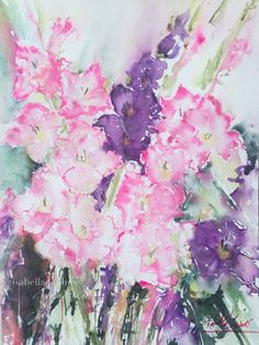 #WorldWatercolorMonth, summer flowers, gladioli, Aquarell, Gladiolen, Sommergarten, painting, watercolor, blossoms, veredit, isabella kramer,