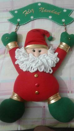 NOEL COLGANTE Christmas Holidays, Christmas Crafts, Christmas Decorations, Xmas, Christmas Ornaments, Holiday Decor, Felt Banner, Fabric Toys, Christmas Fabric