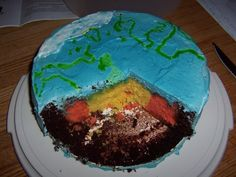 Geologically Correct Earth Cake - The three layers of the crust are the interior of the cake.