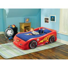 Disney - Cars Lightning McQueen Twin Bed   -   If Leiland likes cars I will totally buy this - its so awesome