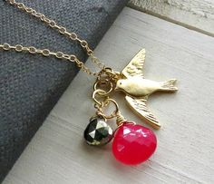 Gold bird necklace stone charm necklace by BLUEskyBLACKbird, $32.00
