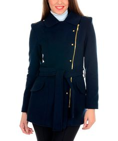 Look at this #zulilyfind! Navy Blue Cachet Coat by Ironi Collection #zulilyfinds