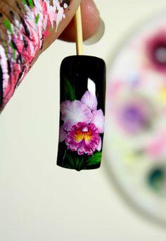 Cattleya orchids  Nail Art by Pisut Masanong   #nail #nails #nailart