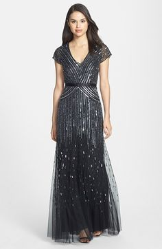 Adrianna Papell Embellished Mesh Gown (Regular  Petite)   Nordstrom