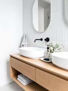 The clean lines of the bathroom vanity tie in with the contemporary styling and the warmth of the wood contrasts beautifully with the vanilla tiles. Contemporary Living Room Furniture, Contemporary Bathrooms, Modern Furniture, Antique Furniture, Geometric Furniture, Furniture Usa, Contemporary Office, Repurposed Furniture, Rustic Furniture