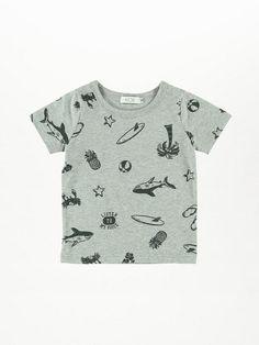 KOE(コエ) |・トロピカルプリント半袖Tシャツ(杢グレー)