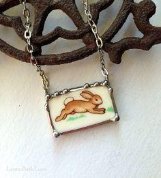 Bunnykins running bunny broken plate broken china jewelry rectangular necklace
