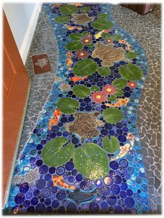 lovely tranquil ceramic tiles mosaic turtle lily pond koi floor