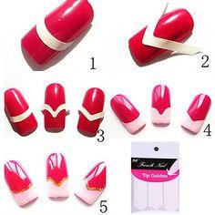 240X New French Manicure Nail Art Tips Form Guide Sticker Polish DIY Stencil TBC