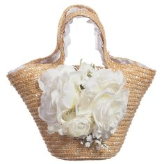 Quis Quis Girls Straw Bag with White Flowers