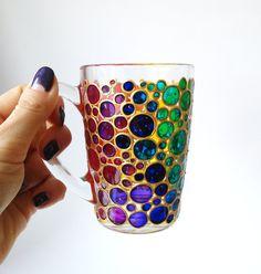 Coffee Mug Rainbow Sun catcher mugs Bubbles mugs Hand painted