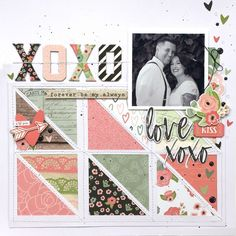 Layout from creative team member Kristine Davidson with the Romance collection – Scrapbooking İdeas For İdeas. Couple Scrapbook, Baby Scrapbook, Scrapbook Cards, Scrapbook Templates, Bridal Shower Scrapbook, Wedding Scrapbook, Travel Scrapbook Pages, Scrapbook Layout Sketches, Simple Scrapbooking Layouts