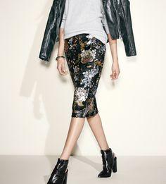Metallic sequin floral skirt.