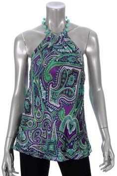 d15625a9169df INC Sz 10P Purple Green White Paisley Design Silk Halter Blouse  Halter  Paisley