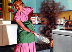 Flame Fatale  The master of the kitchen battles a meatloaf inferno with a simple box of baking soda. Mathieson Chemicals, 1951. Illustrated by Woodi Ishmael