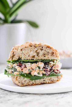to Make Vegan Cranberry Chickpea Salad Sandwiches How to make vegan cranberry chickpea salad sandwiches.How to make vegan cranberry chickpea salad sandwiches. Lunch Recipes, Appetizer Recipes, Whole Food Recipes, Vegetarian Recipes, Cooking Recipes, Healthy Recipes, Vegan Sandwich Recipes, Vegetarian Sandwiches, Picnic Recipes