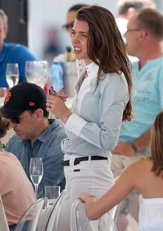 Charlotte Casiraghi and Gad Elmaleh attended the Longines Athina Onassis horse Show on June 2015 in Saint-Tropez, France. Charlotte Casiraghi, Grace Kelly, Patricia Kelly, Equestrian Chic, Equestrian Outfits, Saint Tropez, Princess Charlotte Of Monaco, Olivia Palermo, Preppy Style