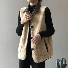 Lapel Wool Cotton Vest | Down Vest, Puffer Vest, puffer outfit Cotton Vest, Vest Outfits, Down Vest, Puffer Vest, Types Of Collars, Size Chart, Wool, Clothes For Women, Casual
