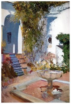 Joaquin Sorolla Y Bastida A Fountain at the Alcazar in Sevilla Oil Painting – Oil Paintings For Sale Spanish Painters, Spanish Art, Art Painting, Landscape Paintings, Cityscape, Plein Air Paintings, Painting Inspiration, Painting, Oil Painting