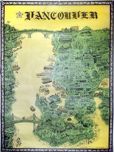 Vancouver map, 1969 Vancouver, British Columbia,Canada