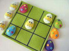 Easter Tic Tac Toe game set  -  Jogo da velha de feltro.