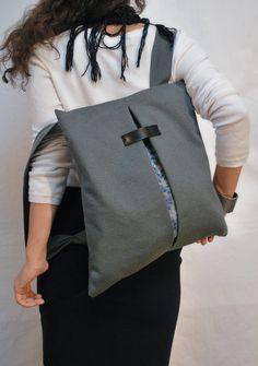 Waterproof Backpack  Messenger bag/ Gray by misirlouHandmade