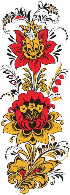 Popular Folk Embroidery Folk Khokhloma painting from Russia. A floral pattern One Stroke Painting, Tole Painting, Painting Flowers, Diy Painting, Folk Embroidery, Embroidery Patterns, Russian Folk Art, Thinking Day, Vintage Diy