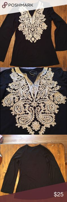 EUC blk embroidered bell sleeve tunic Super soft & flattering! INC International Concepts Tops Tunics