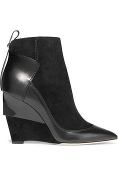 Jimmy Choo | Damsen leather and suede wedge ankle boots | http://NET-A-PORTER.COM