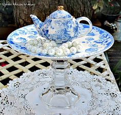 Blue and White Miniature Teapot Pedestal by GardenWhimsiesByMary