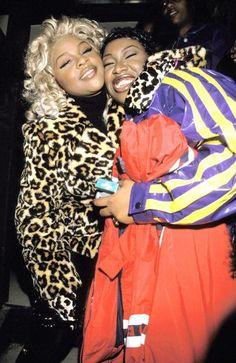 Missy and Lil kim at nba all star game circa 1998
