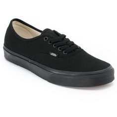 Vans Authentic Lace Up All Black Shoe ($45) found on Polyvore
