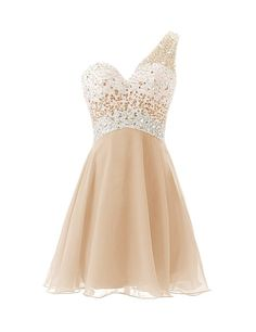 Dresstells One Shoulder Homecoming Dress with Beadings Short Bridesmaid Dress…