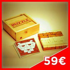 MATTO PUZZLE 84 - Contents: 9 big Bricks, 3 big white Bricks, 7 medium Bricks, 6 medium white Bricks, 10 small Bricks, 4 small white Bricks, 20 Angular Bricks, 17 Angular white Bricks, 4 Bridge Bricks, 4 Half moon bricks. Case in fir wood.