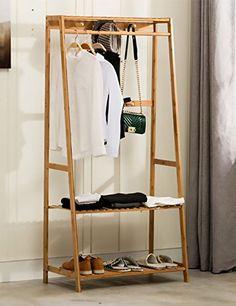 Ufine-Garment-Rack-Bamboo-Wood-Entryway-Coat-Rack-3-Tiers-Shoe-Clothes-Storage-Shelves-6-Coat-Hooks-1-Hanging-Bar-for-Bag-Clothing-Umbrella-Holder-Living-Room-Bedroom-Hallway Hanging Bar, Hanging Racks, Coat Hanger Stand, Hanging Clothes Racks, Wooden Clothes Rack, Bag Rack, Entryway Coat Rack, Wooden Coat Rack, Cool Ideas