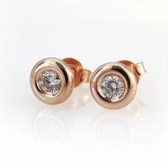 Rose Gold Diamond Stud Earrings, Small Round Classic Bezel Rose Diamond Gold Stud Earrings, Fine Jewelry