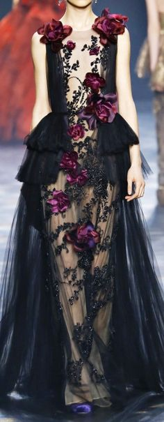 INSPIRATON & TAKE-AWAY: Marchesa Notte Fall 2016. The take-away is, midnight to navy is huge for fall, as is touches of magenta. For daytime, do an all-over dark-wash denim or navy, with a bold magenta scarf or statement necklace.