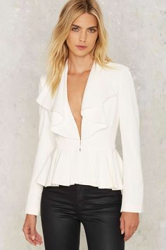 This Do Me a Favor Ruffle Blazer is pure frilly fun.