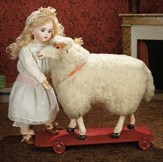 Grand-Sized Early Paper Mache Glass-Eyed Lamb on Wooden Pull-Toy Platform 800/1300
