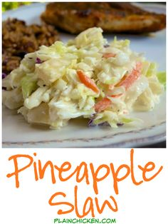 Pineapple Slaw Recipe – cabbage, pineapple, vinegar, sugar and mayonnaise. So simple and tastes amazing! Inspired by our trip to the beach. Pompano Joe's copycat recipe. Great for a potluck. Slaw Recipes, Cabbage Recipes, Copycat Recipes, Vegetable Recipes, Chicken Recipes, Yummy Recipes, Snacks Recipes, Mayonnaise, Paella